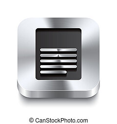 Square metal button perspektive - page icon