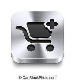 Square metal button perspektive - shopping cart add icon