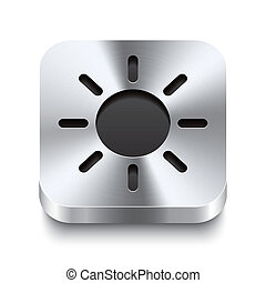 Square metal button perspektive - sun icon
