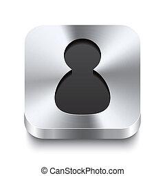 Square metal button perspektive - user icon