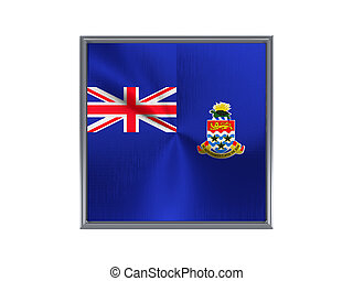 Square metal button with flag of cayman islands isolated on white