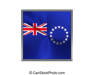 Square metal button with flag of cook islands isolated on white
