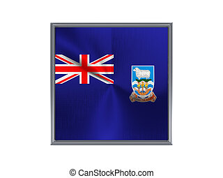 Square metal button with flag of falkland islands