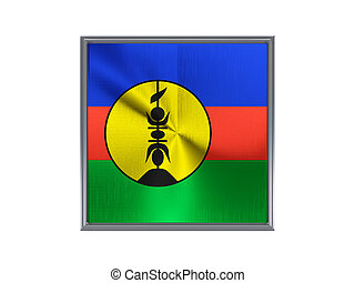 Square metal button with flag of new caledonia