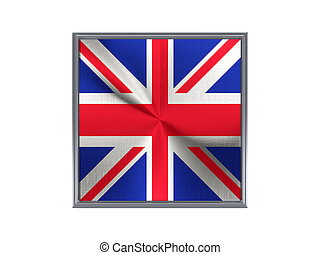 Square metal button with flag of united kingdom