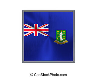 Square metal button with flag of virgin islands british