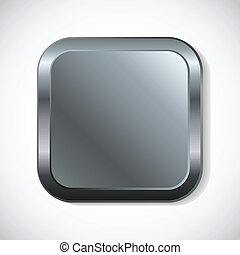 Square metal button with rounded corners.