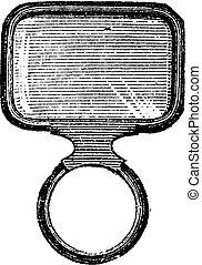 Square Monocle, vintage engraving.
