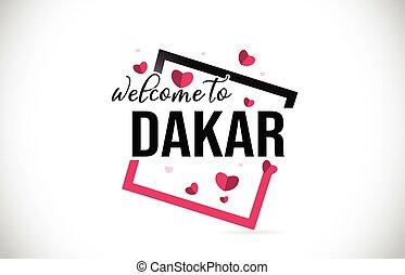 square., mot, dakar, manuscrit, cœurs, accueil, rouges, texte, police