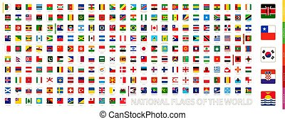 Square national flags collection of the World.