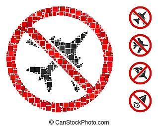 Square No Airplane Icon Vector Collage