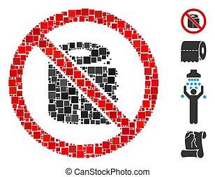 Square No Toilet Paper Icon Vector Collage