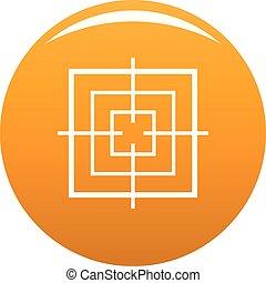 Square objective icon vector orange