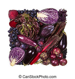 Square of blue and purple fruits and vegetables
