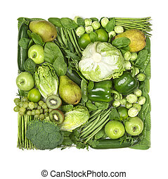 Square of green fruits and vegetables