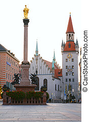 square of medieval city with monument. Munich. Germany