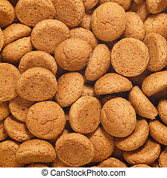 Square of pepernoten, ginger nuts. A dutch treat for Sinterklaas celebration on 5 december. Event in Holland, Netherlands.