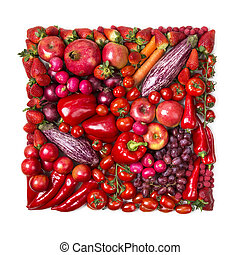 Square of red fruits and vegetables