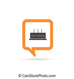 square orange speech bubble with birthday cake illustration