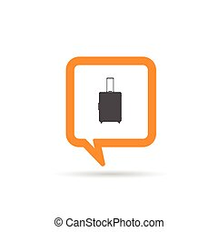 square orange speech bubble with travel bag illustration