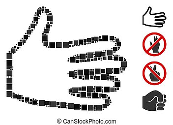 Square Pan Fingers Icon Vector Mosaic