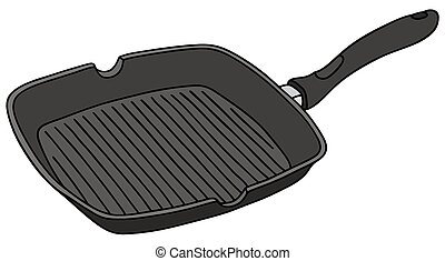 Hand drawing of a black square pan