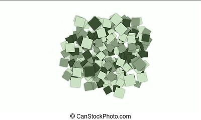 square paper cards and mosaics array background.