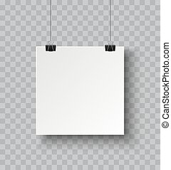 Square paper poster hanging on a rope with clip and soft ...