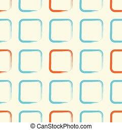 Square pattern retro orange blue