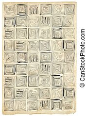 square patterns - freehand sketching on paper, vector