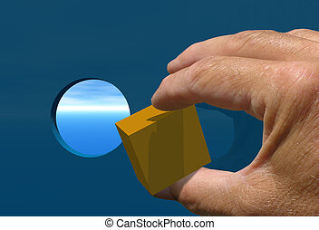 Square Peg Round Hle - Hand trying to put Square peg into a...
