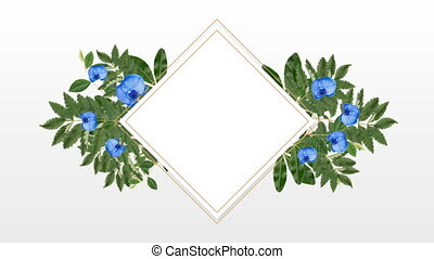 photo frame for copy space with decorative blue flowers -...