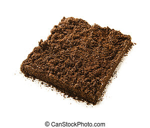 square piece of soil isolated on white