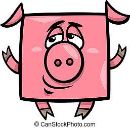 square pig cartoon illustration