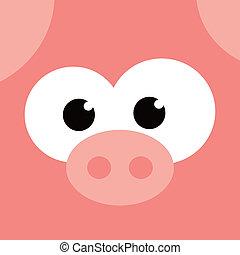 square pig face icon button