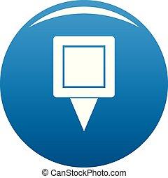 Square pin icon blue vector