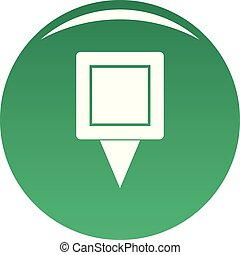 Square pin icon vector green