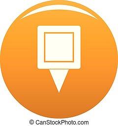 Square pin icon vector orange