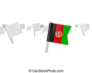 Square pin with flag of afghanistan