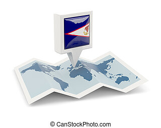 Square pin with flag of american samoa on the map