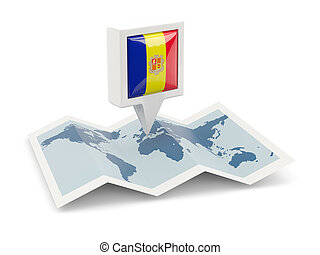 Square pin with flag of andorra on the map