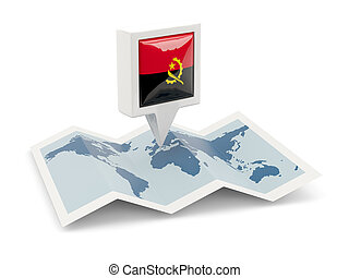Square pin with flag of angola on the map