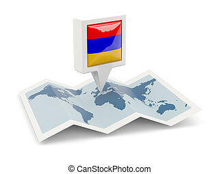 Square pin with flag of armenia on the map