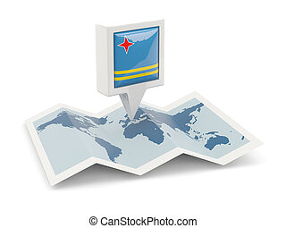 Square pin with flag of aruba on the map