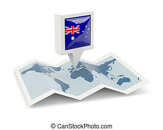 Square pin with flag of australia on the map