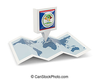 Square pin with flag of belize on the map