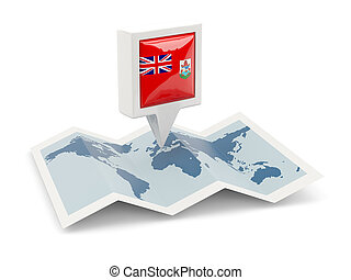Square pin with flag of bermuda on the map