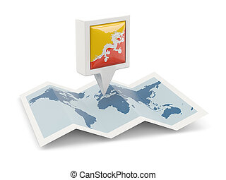 Square pin with flag of bhutan on the map