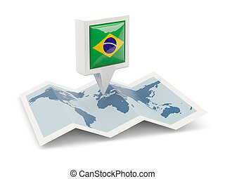 Square pin with flag of brazil on the map