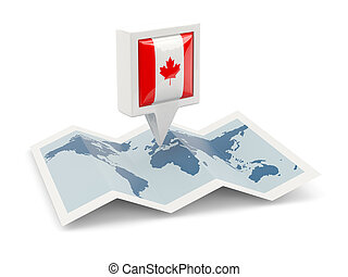 Square pin with flag of canada on the map